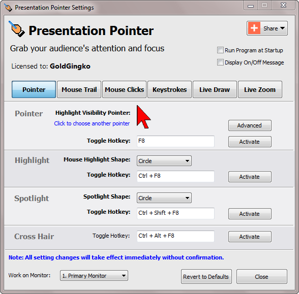 demonstration tool, presentation tool, cursor highlighting, pointer, mouse, demos, presentation, cursor, screen, demonstration, training
